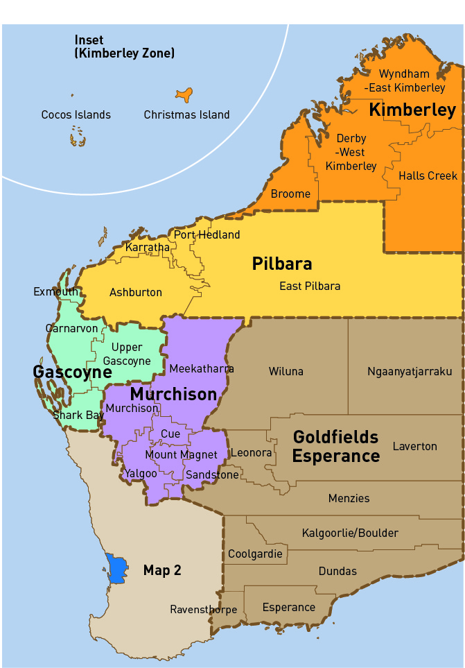 Map Of Western Australia With Towns.Walga Local Government Zones Walga